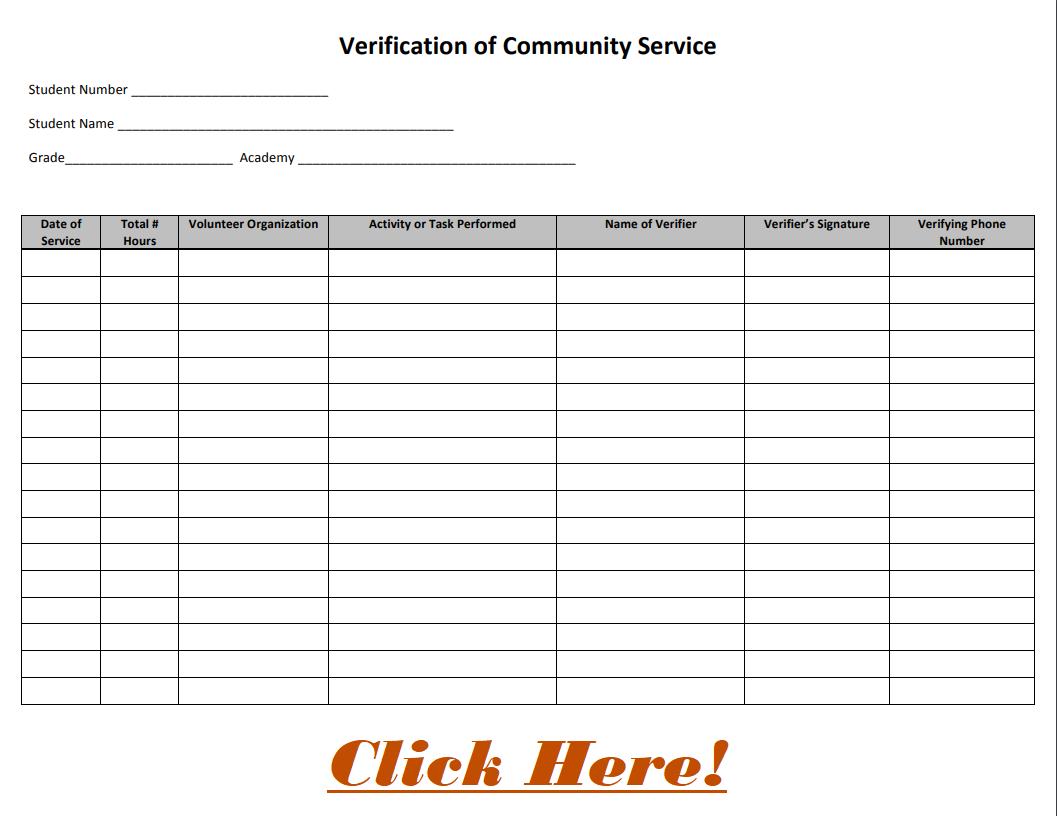 Community Service Form Link
